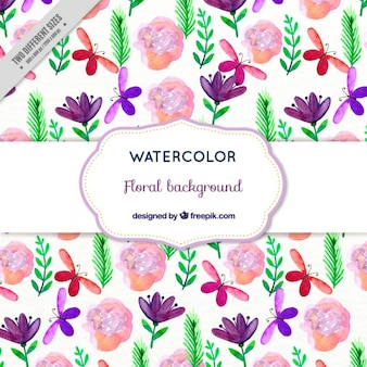 Watercolor floral achtergrond met vlinders