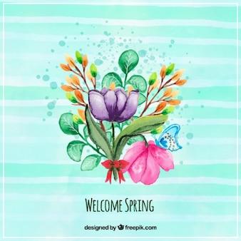 Watercolor gestreepte achtergrond met een boeket bloemen