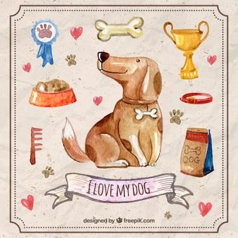 Watercolor hond met accessoires voor huisdieren
