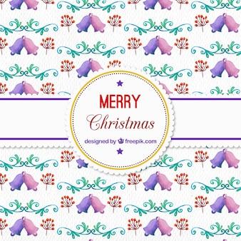 Watercolor kerst patroon met klokken