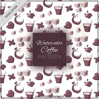 Watercolor koffie patroon
