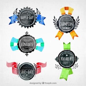 Watercolor medailles set