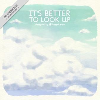 Watercolor motivatie citaat met wolken