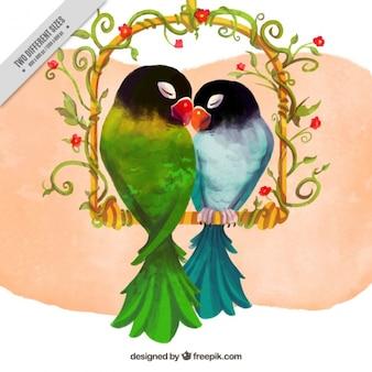 Watercolor papegaai paar