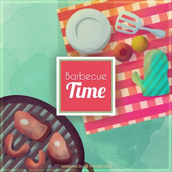 Watercolor picknick en barbecue achtergrond