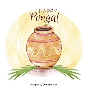 Watercolor pongal achtergrond