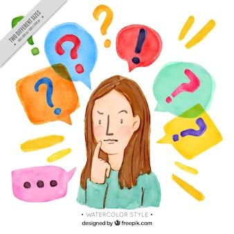 Watercolor quiz achtergrond met vraagtekens en peinzende vrouw