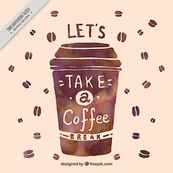 Watercolor vintage achtergrond koffie om mee te nemen