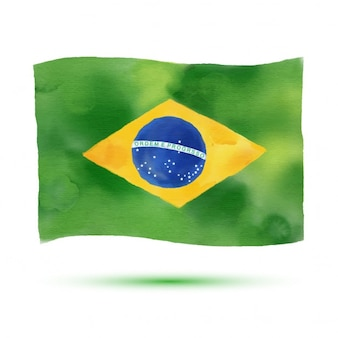 Watercolor vlag van brazilië