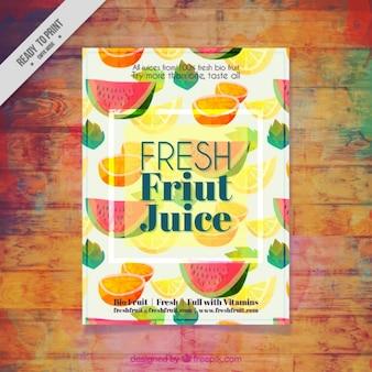 Watercolor vruchten flyer van natuurlijk sap