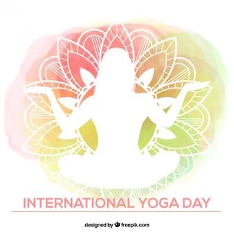 Watercolor yoga achtergrond met witte silhouet
