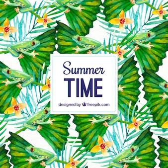 Watercolor zomer achtergrond met bloemen en kikkers