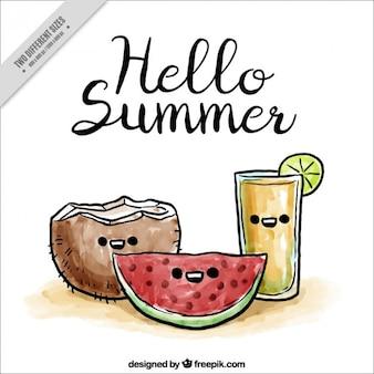 Watercolor zomervruchten en drankje achtergrond