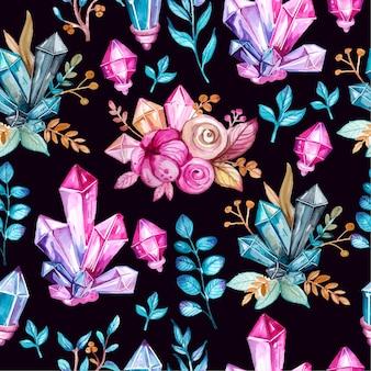 Watercppr bloemen en kristal naadloos patroon
