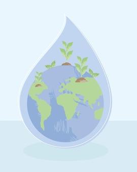 Waterdruppel en wereldplaneet