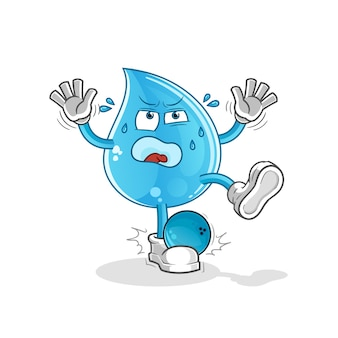 Waterdruppel geraakt door bowlen cartoon