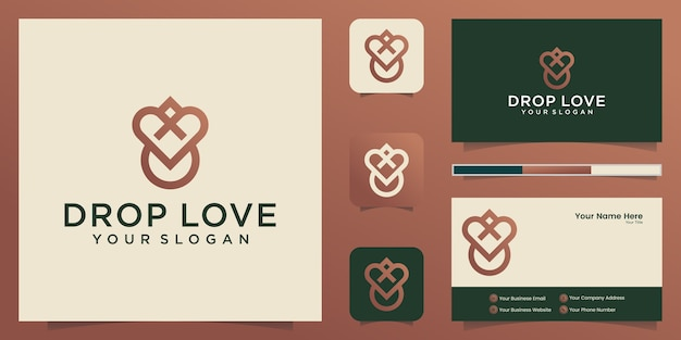 Waterdruppel hart binnen logo ontwerp en visitekaartje