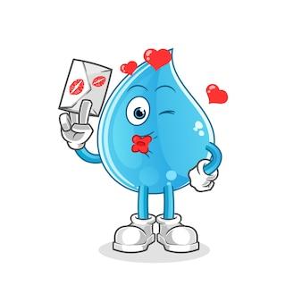 Waterdruppel houden liefdesbrief illustratie