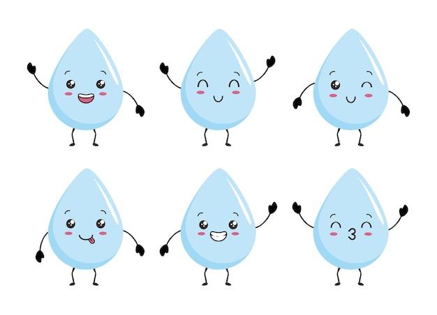 Waterdruppel kawaii mascotte cartoon afbeelding