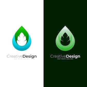 Waterdruppel logo en blad ontwerp combinatie, natuur logo sjabloon