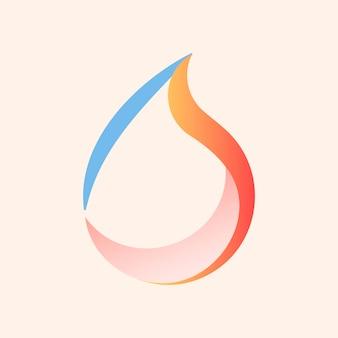 Waterdruppel logo sticker, geanimeerde pastel omgeving grafische vector