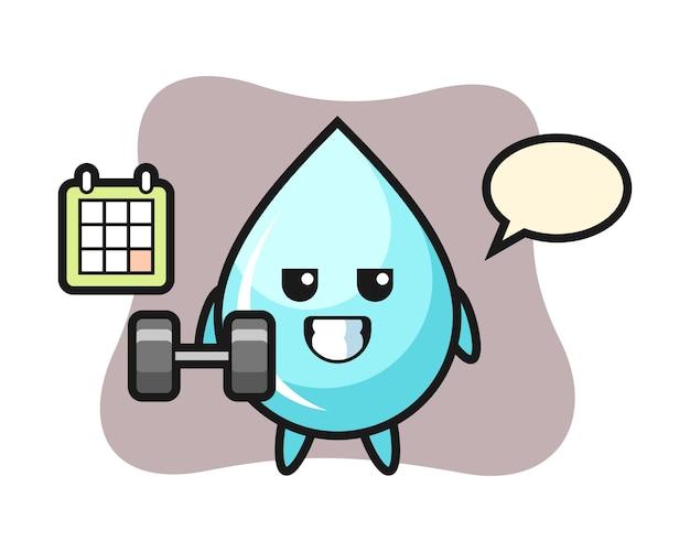 Waterdruppel mascotte cartoon doet fitness met halter, schattig stijl ontwerp voor t-shirt