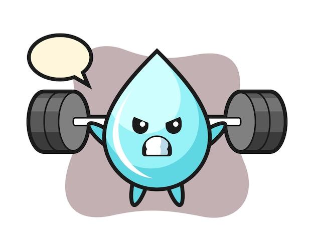 Waterdruppel mascotte cartoon met een barbell, schattig stijlontwerp voor t-shirt