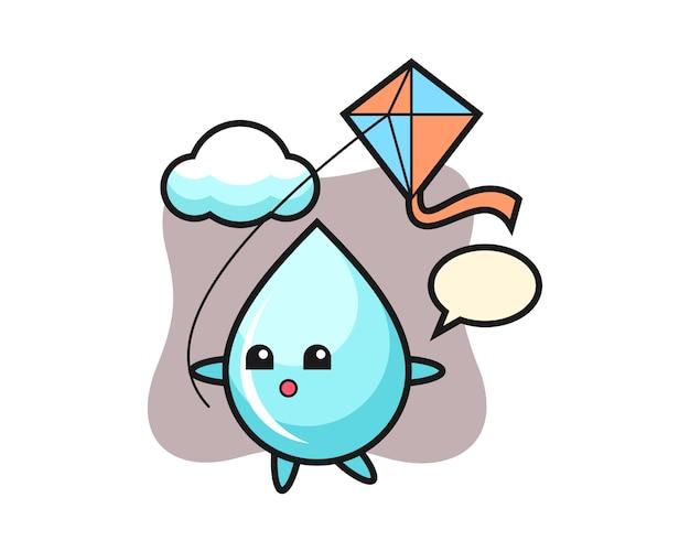 Waterdruppel mascotte illustratie speelt vlieger, schattig stijlontwerp voor t-shirt