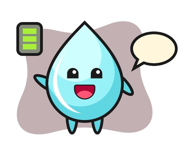 Waterdruppel mascotte karakter met energiek gebaar, schattig stijlontwerp voor t-shirt