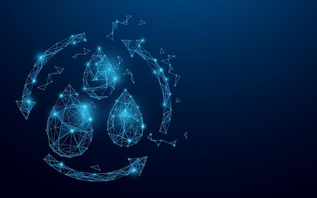 Waterdruppel met recycle symbool van lijnen, driehoeken en deeltjesstijl ontwerp. ecologie concept