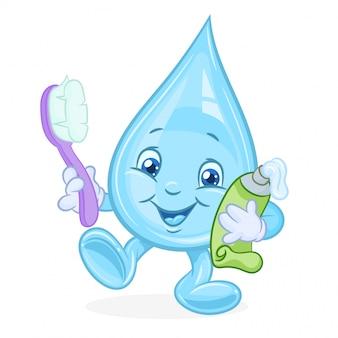 Waterdruppel met tandpasta en een tandenborstel