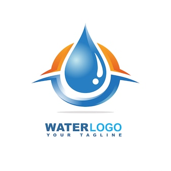 Waterdruppel vector logo met blad en hand