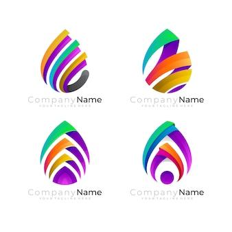 Waterdruppellogo en kleurrijk stijlicoon, moderne logo's