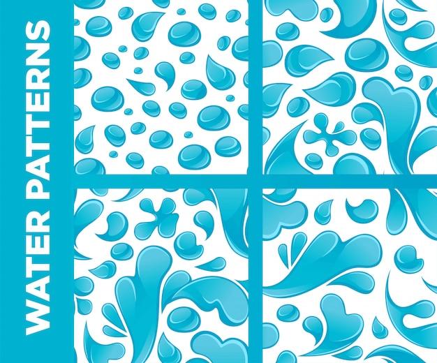 Waterdruppels en spatten vector naadloze patronen instellen