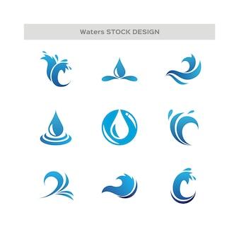 Waterdruppels en wave-logo