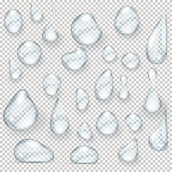 Waterdruppels realistische set geïsoleerde illustratie