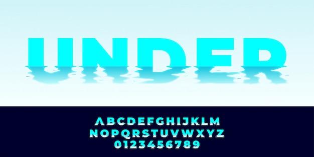 Watereffect tekst alfabet stijl