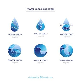 Wateremblemencollectie voor bedrijven in vlakke stijl Gratis Vector