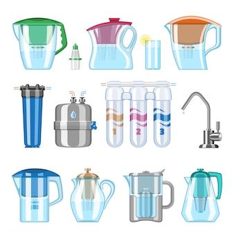Waterfilter die schone drank en gefilterde of gezuiverde vloeibare illustratiereeks filtert van minerale filtratie of zuivering om aqua op witte achtergrond te ontruimen