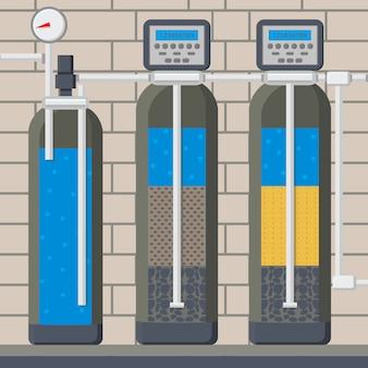 Waterfilter in gesneden cartoon afbeelding