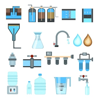 Waterfiltratie icon set