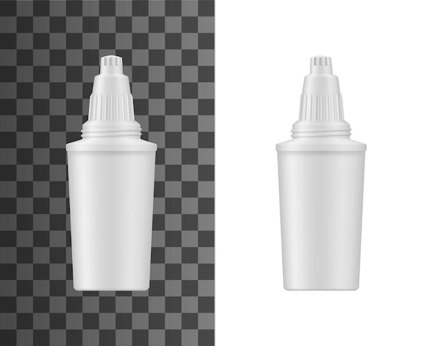 Waterfiltratie werper cartridge realistische mockup. huiswaterbehandeling en ontziltingsfilter