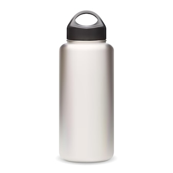 Waterfles. thermoflesmodel. herbruikbare sportfles vector leeg. zilveren fitnessfles met zwarte dop 3d design. realistisch roestvrijstalen kampeerblik, product voor buitenuitrusting