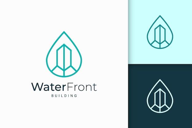 Waterfront appartement of eigendomslogo in eenvoudige lijnvorm