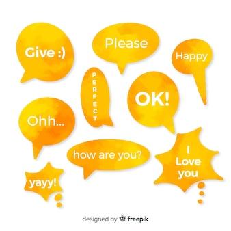 Watergekleurde gele tekstballonnen met verschillende uitdrukkingen