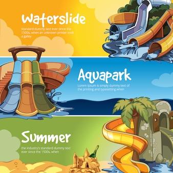 Waterglijbanen banner in een aquapark.