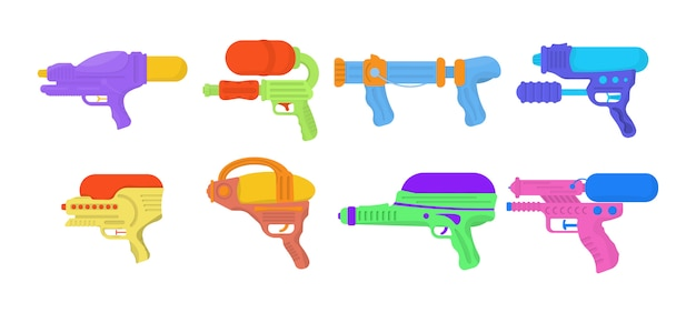 Waterkanonnen op een witte achtergrond worden geïsoleerd die. wapenspeelgoed voor kinderen. set cartoon speelgoed waterpistolen voor leuke kinderen. heldere veelkleurige pictogrammen voor kinderen.