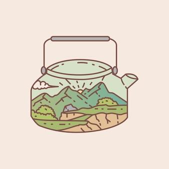 Waterkoker buiten met uitzicht op het landschap