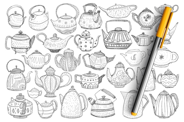 Waterkokers en theepotten doodle set. verzameling van hand getrokken stijlvolle elegante theepotten en waterkokers voor het brouwen van thee en koffiedranken geïsoleerd.
