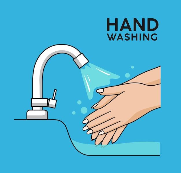 Waterkraan hand wassen symbool kleurrijke achtergrond concept ontwerp vectorillustratie